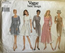 Vogue 1593 Misses' Basic Design Tapered or Loose Fitting Dresses Sizes 6... - $7.99