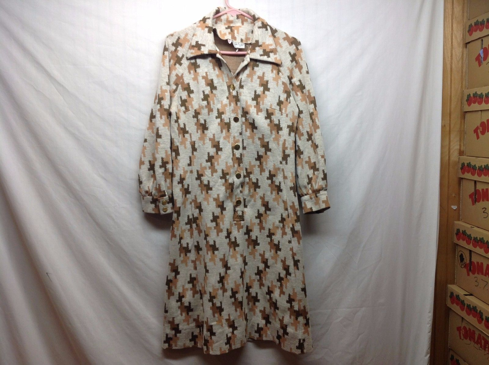 Womens Long Jacket Robe w Patchy Design by David Crystal Sz 16