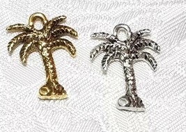 PALM TREE FINE PEWTER PENDANT CHARM - 15x20.5x3mm image 1