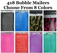 #000 4x8 Poly ( Black Blue Camo Pink Purple Red or Teal  ) Bubble Mailers - $0.98+