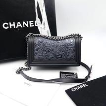 AUTHENTIC CHANEL BLACK Limited Edition Embroidery Leaf Medium Boy Flap Bag image 2