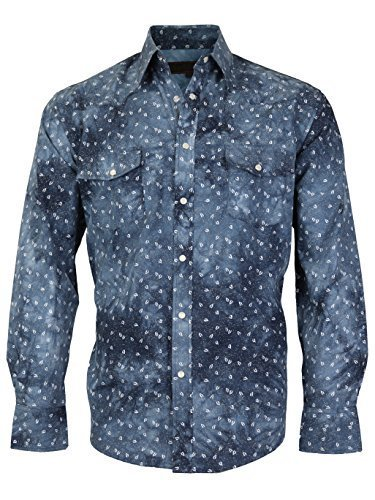 LW Men's Western Cowboy Pearl Snap Long Sleeve Slim Fit Rodeo Casual Dress Shirt