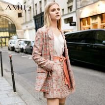 Amii Minimalist Tweed Two Pieces Set Autumn Office Lady Loose Lapel Blazer MIni  image 2
