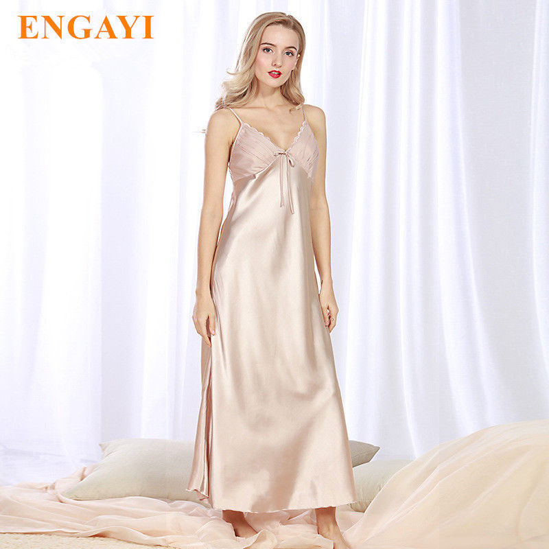 Primary image for 4XL Long Satin Slip Nightwear Plus Size Sexy Nightgown Silk Bridesmaids Bathrobe