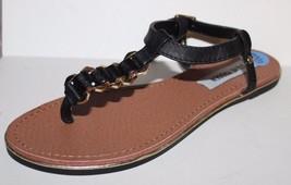 Steve Madden NWOB Women's Gravee Black T-Strap Leather Sandals w/ Metal ... - $41.03