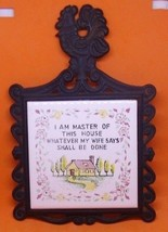 VINTAGE ~ CAST IRON AND CERAMIC TILE TRIVET HOT PLATE~ I AM MASTER OF TH... - $11.73