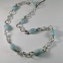 Necklace the Aluminium Long 60 Inch with Aquamarine Blue Blue image 3