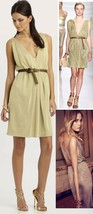 $498 Elie Tahari Tamara Gold Metallic Knit Jersey Sleeveless Dress - $251.99