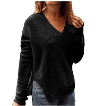 Winter V-Neck Sweaters Autumn Side Split Knitted Sweater Women Knitwear ... - $41.97+
