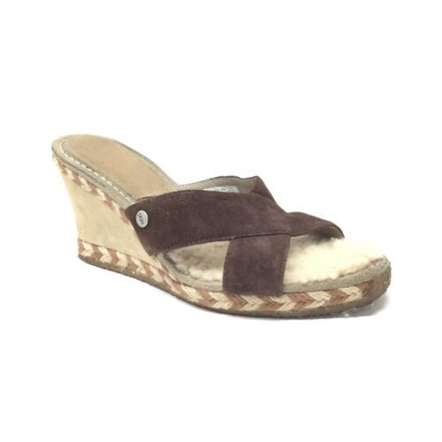 Primary image for UGG Margot Brown Leather Shearling Wedge Espadrille Slip On Sandals Size 8