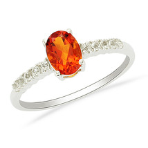 925 Sterling Silver Oval Cut Citrine With CZ Solitaire with Accents Wome... - $21.82