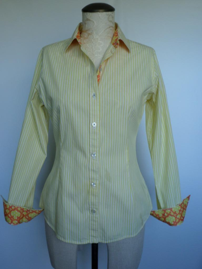 C WONDER by TORY BURCH yellow XS striped Flip-out button up collar long sleeve