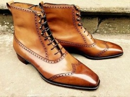 Handmade Men's Brown Leather Wing Tip High Ankle Lace Up Leather Boots image 1