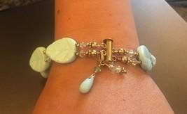 "Vintage Bracelet Glass and Crystal Bead Bracelet - Exquisite 7 3/4"" - Le... - $23.22"