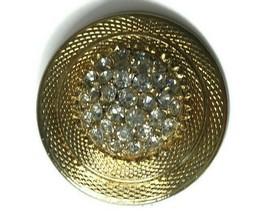 CELEBRITY NY Gold Tone Pendant Vintage Sparkle Stone Round  - $15.85
