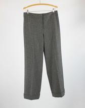 Gray white pinstripe cuffed hem ANN TAYLOR dress pants 8 - $24.99