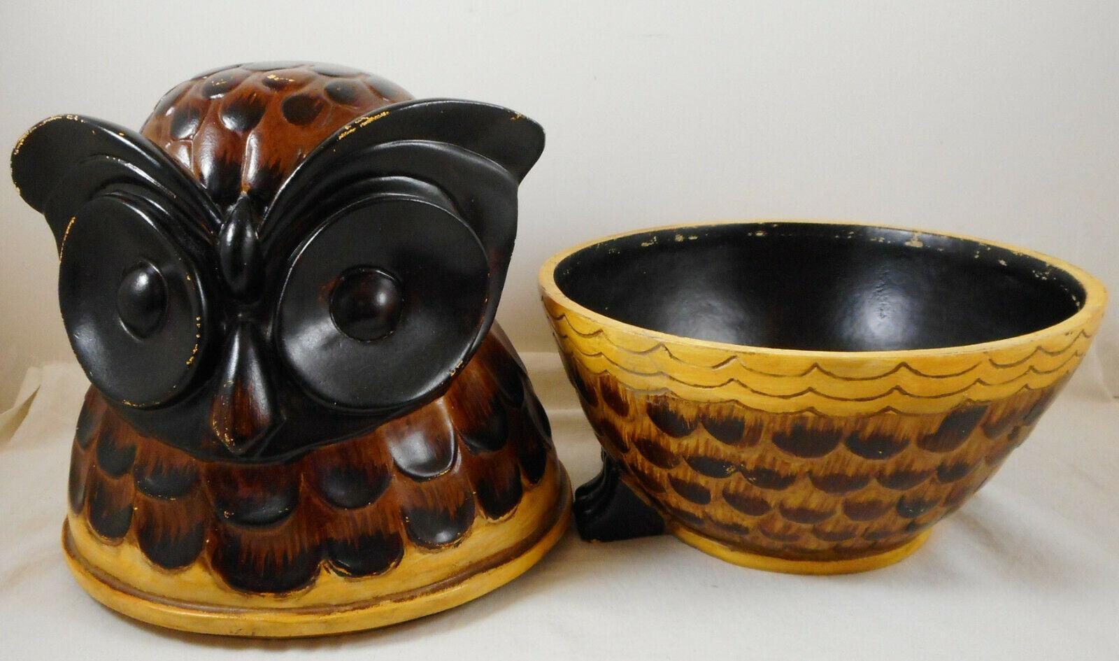 "Brown Owl Decorative Storage Box Jar Canister 10"" Figurine"