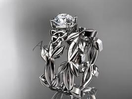 Celtic knot white gold leaf wedding ring set CT7522S - $1,125.00