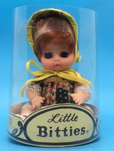 Little Bitties Uneeda Baby Doll Vintage Gingham Dress And Bonnet Eyes Open Close - $8.79
