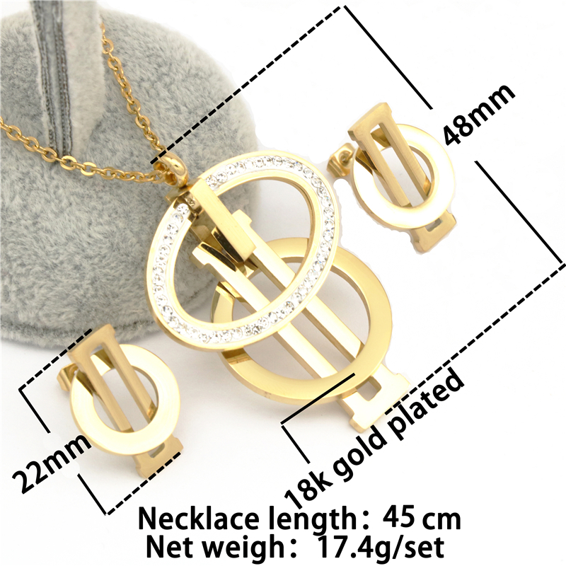 Gold Color Jewelry Set 316L Stainless Steel CZ Crystal Earring Necklace Women Se image 2
