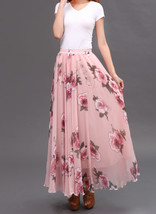 Women Pink FLORAL Chiffon Long Skirt A-line Flower Long Chiffon Skirt Summer  image 3