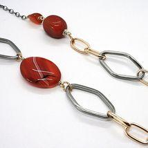 Collar Plata 925 , Pulido Y Rosa, Cornalina Rojo, Largo 70 CM image 5