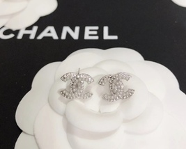 SALE***Authentic Chanel CC Logo Crystal Strass Silver Stud Earrings  image 9