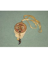 Mystical Wolf face woodburned pendant with real claw - $20.00