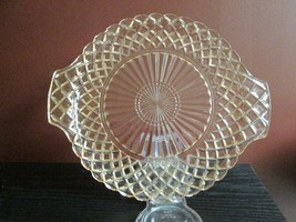 Antique WATERFORD PINK DEPRESSION GLASS WAFFLE VANITY TRAY Serving CAKE ... - $34.64
