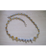 OOAK handmade yellow beaded pearl necklace - $25.00