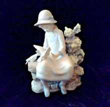 Lladro Porcelain Figurine by NAO  Girl on Bench With Doves - $89.10