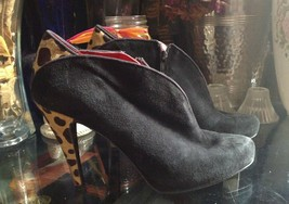 Nine West Haywire Black Suede Calf Hair Booties Shoes Size 8 M  W/Leopard Print - $34.64