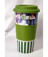 Century Potted Flowers Green Stripes Travel Mug With Green Silicone Lid/... - $10.07
