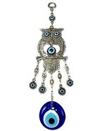 EA Gift Global Blue Evil Eye Bead Nazar Owl with Heart Quality Amulet Wa... - $14.11