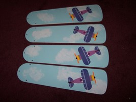 CUSTOM DESIGN ~ ~ ~AIRPLANE PLANES PUFFY CLOUDS & BABY BLUE SKY CEILING FAN - $89.99