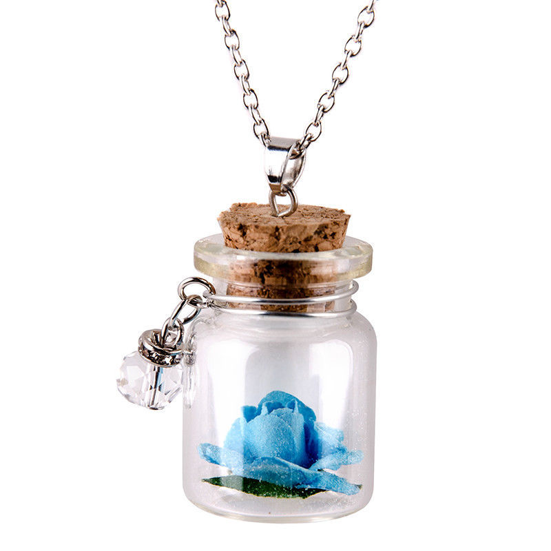 Unique Tiny Glow in the Dark Flower Glass Wishing Wish Bottle Necklace Pendant