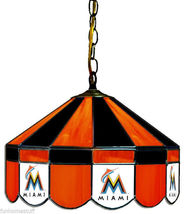"""FLORIDA MIAMI MARLINS MLB 16"""" STAINED GLASS HANGING BAR TABLE LAMP LIGHT FIXTURE - $599.95"""