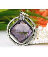 Vintage Purple Amethyst Silver Pendant Handcrafted Cushion Cut - $49.95