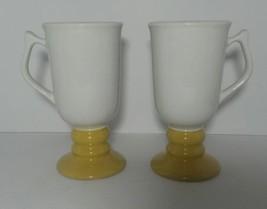 Vintage Hall Pottery Pedestal Mug Pair 1273 Ceramic Coffee Tea White Yellow - $9.89