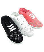 Womens Silver Studded Canvas Lace Sneakers Tennis Shoes Black Pink - €13,87 EUR