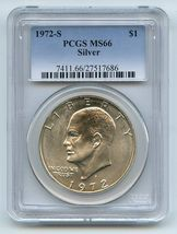 1972 S $1 Silver Ike Eisenhower Dollar PCGS MS66 - £27.67 GBP