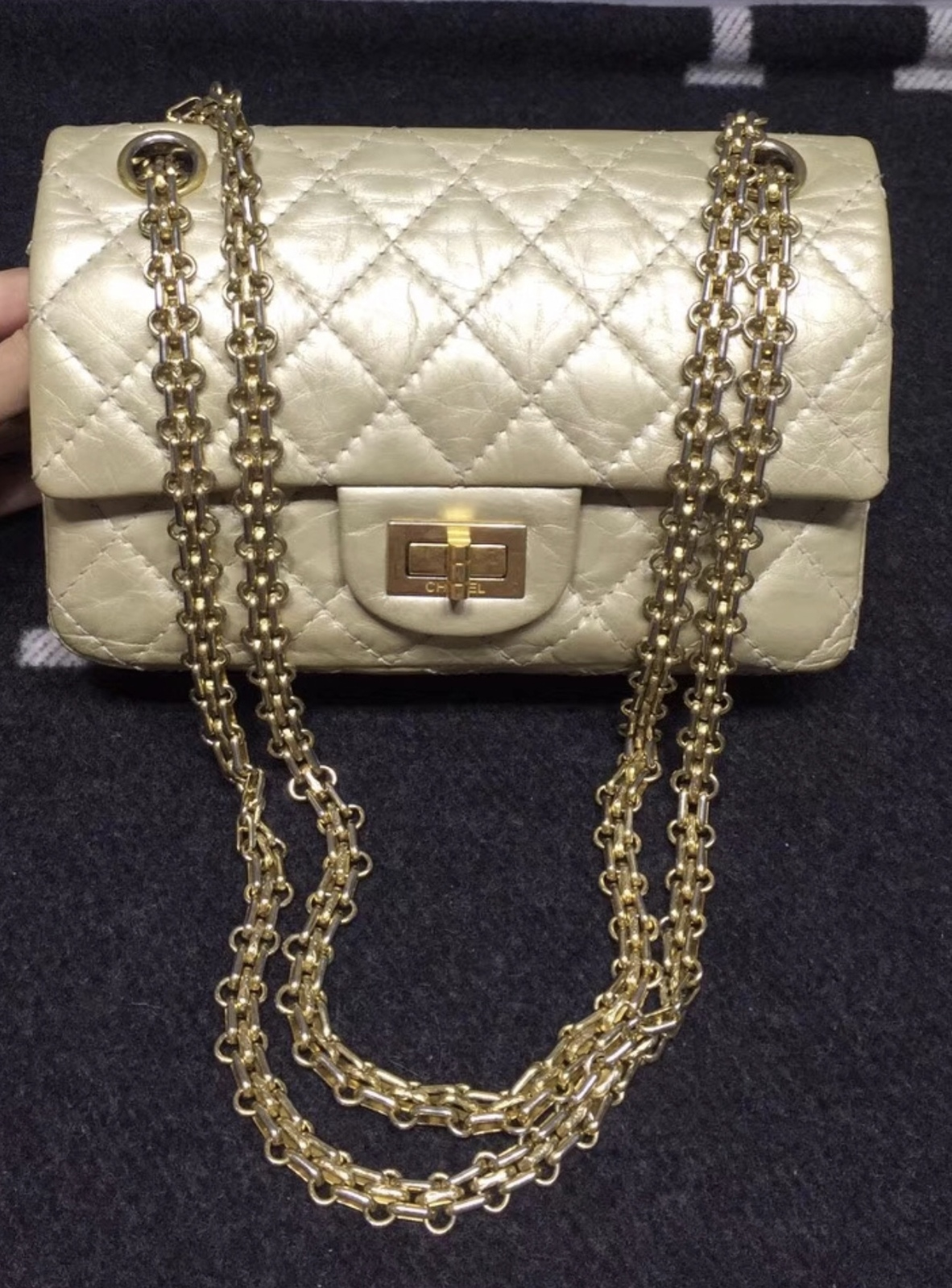 Authentic Chanel Classic 2.55 Reissue Small 20CM Double Flap Bag Champagne Gold
