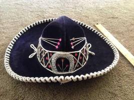 "14"" XXXXX Pigalle Mexican Hat Sombrero Folk Art  Black Made Mexico/EUC - $55.44"