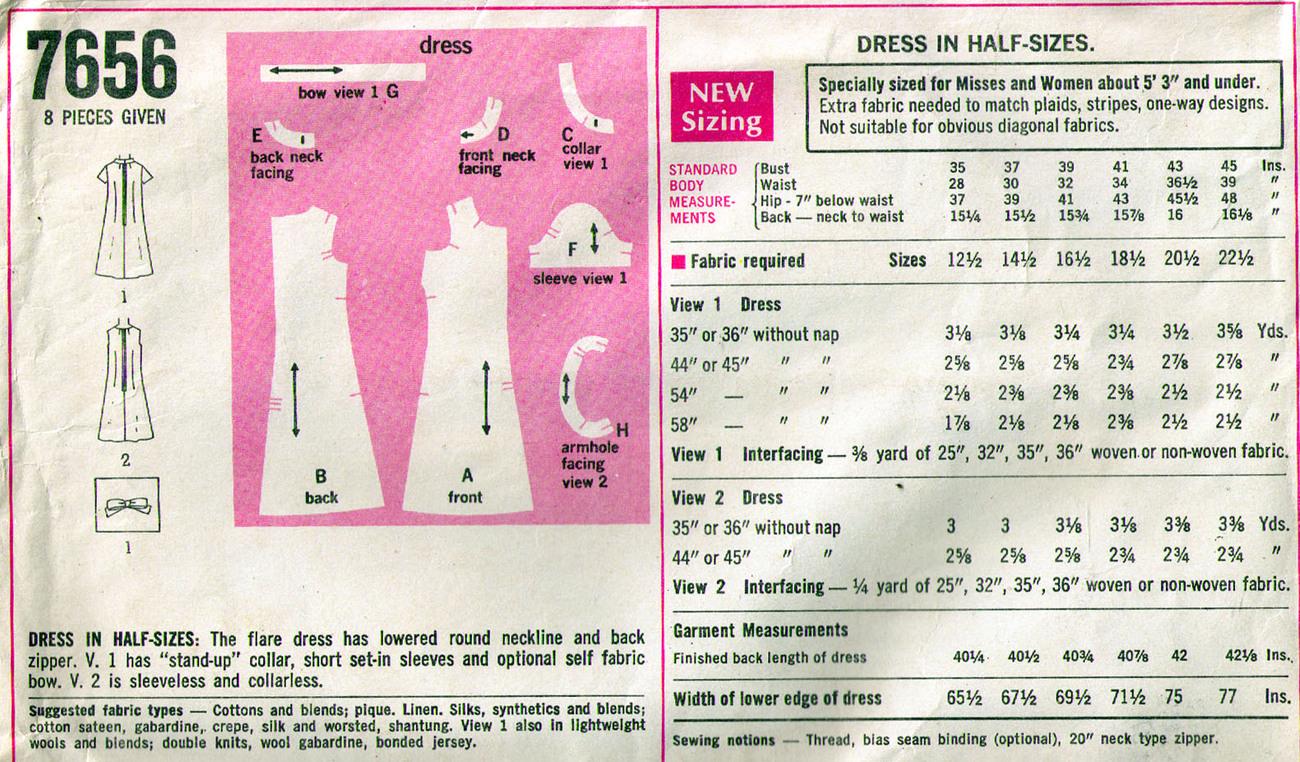 1968 Half-Size DRESS Pattern 7656-s Waist Size 14-1/2 - UNCUT