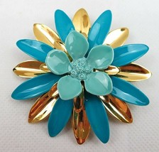 Signed Sarah Coventry Fashion Blue Enamel Flower Brooch Pin Gold Color - $35.00