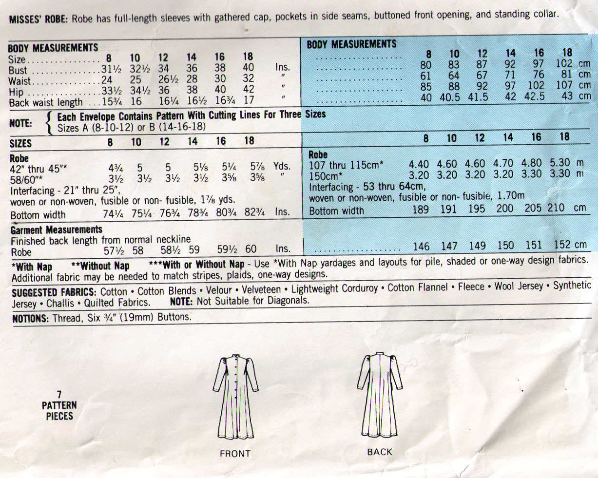 1982 ROBE Pattern 8272-m Size 8-10-12 - Complete