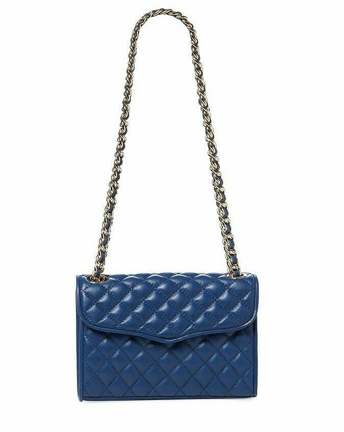 Primary image for NWT Rebecca Minkoff Mini Affair Quilted Leather Shoulder Bag NAVY Gold AUTHENTIC