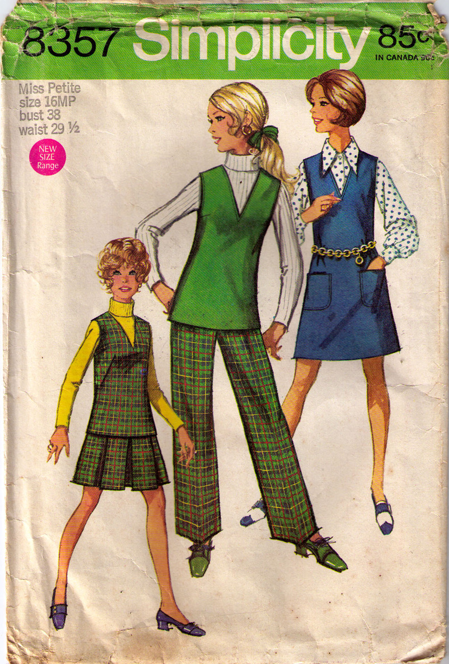 1969 JUMPER-TOP-SKIRT-PANTS Pattern 8357-s Size 16 Miss Petite