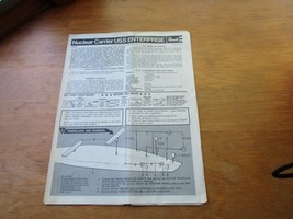 1969 Revell Nuclear Carrier USS Enterprise Model Instructions Only 1:720 - $9.89