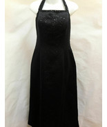 Alex Evenings 14 Maxi Halter Dress Black Satin Gown Sequins Beaded Formal - $29.39